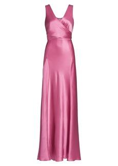 Alberta Ferretti Sleeveless Satin Wrap Gown