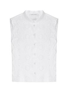 Alberta Ferretti Sleeveless Shirt with Crochet Lace Front