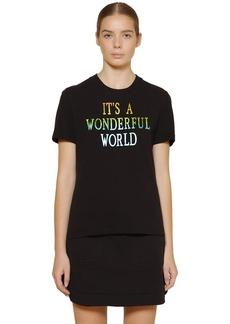 Alberta Ferretti Slim Printed Cotton Piquet T-shirt