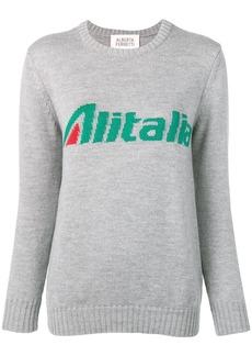 Alberta Ferretti slogan jacquard knit jumper