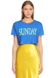 Alberta Ferretti Sunday Cotton Jersey Cropped T-shirt