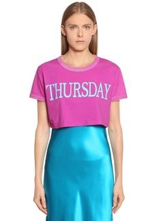Alberta Ferretti Thursday Cotton Jersey Cropped T-shirt