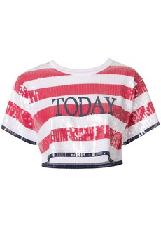 """Alberta Ferretti """"Today"""" sequined shortsleeved cropped T-shirt"""