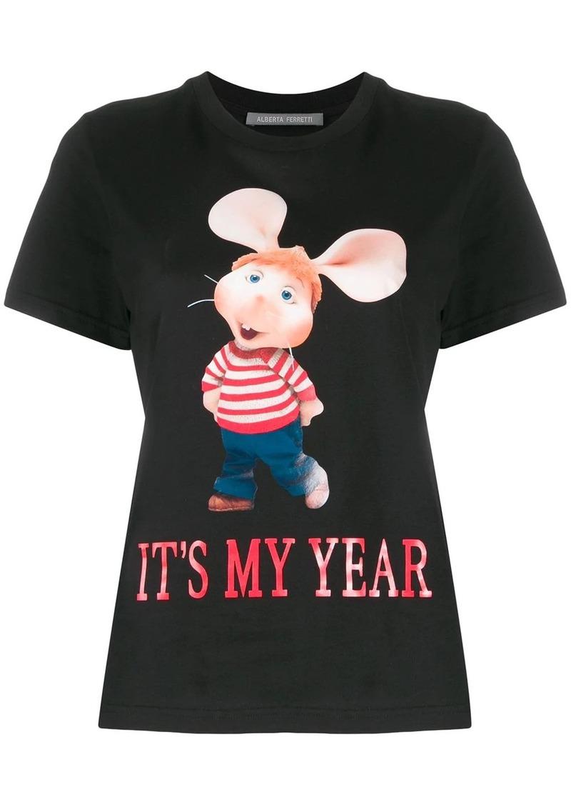 Alberta Ferretti Topo Gigio print cotton T-shirt