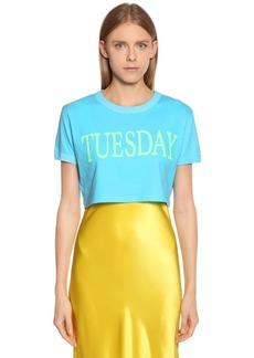 Alberta Ferretti Tuesday Cotton Jersey Cropped T-shirt