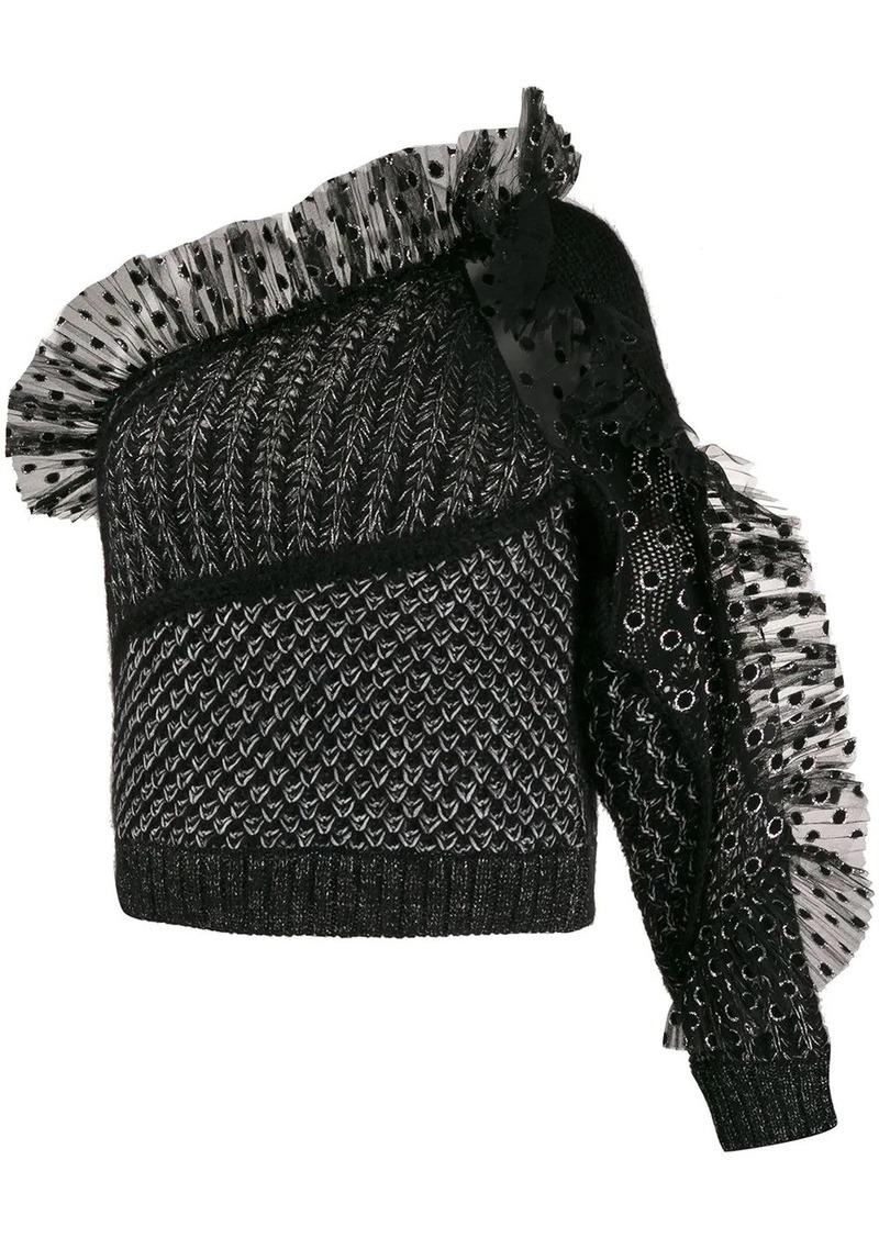 Alberta Ferretti tulle-panelled one-shoulder top