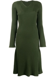 Alberta Ferretti V-neck sweater dress