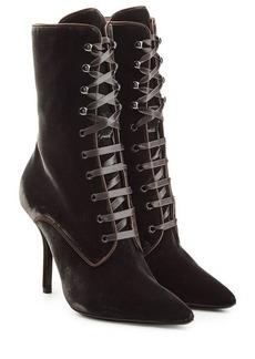 Alberta Ferretti Velvet Ankle Boots