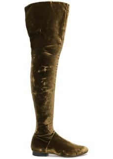 Alberta Ferretti velvet over the knee boots