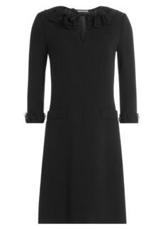Alberta Ferretti Virgin Wool Dress with Lace Inserts