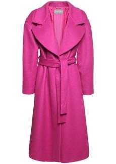 Alberta Ferretti Wool Blend Felt Long Coat W/ Belt