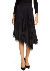 A.L.C. Adele Pleated Lace Trim Asymmetrical Skirt