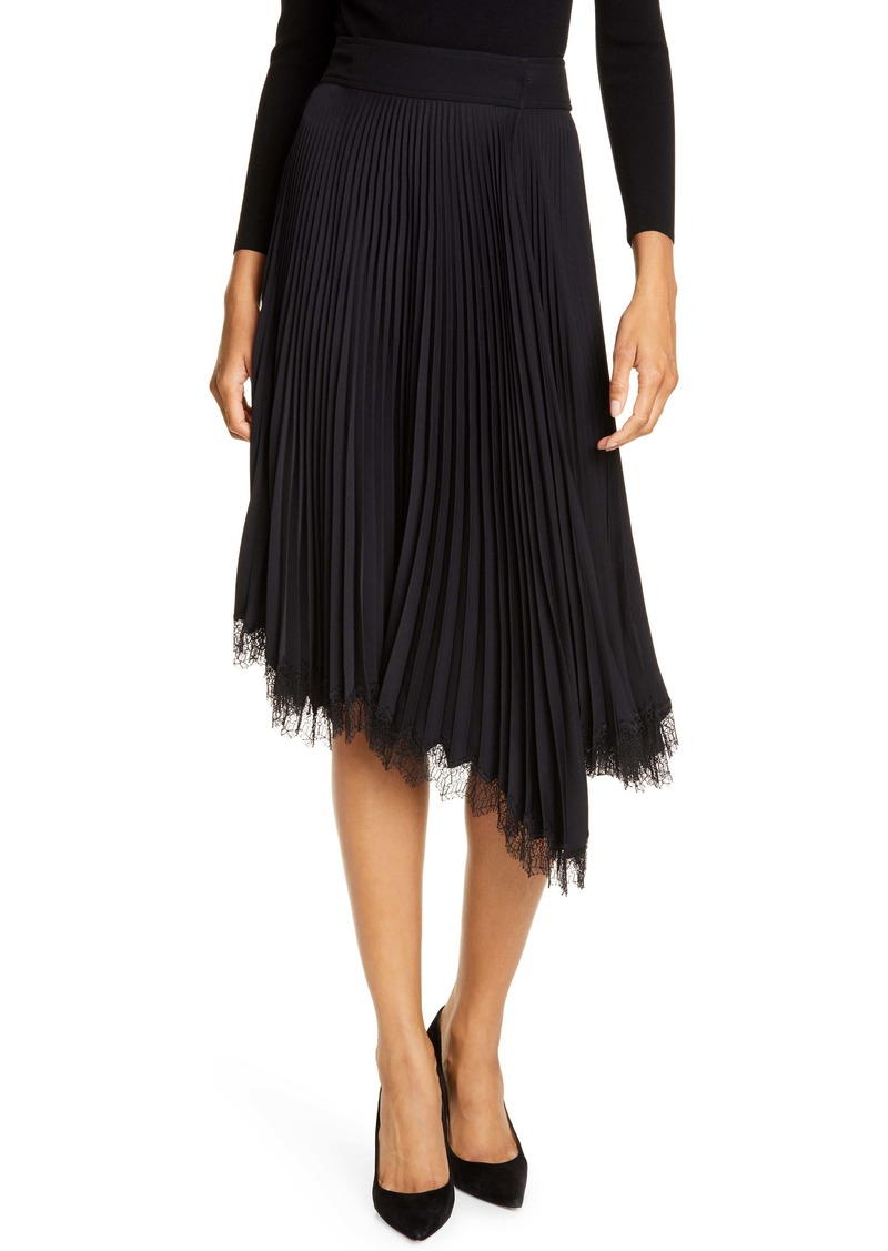 A.L.C. Adele Pleated Lace Trim Asymmetrical Skirt
