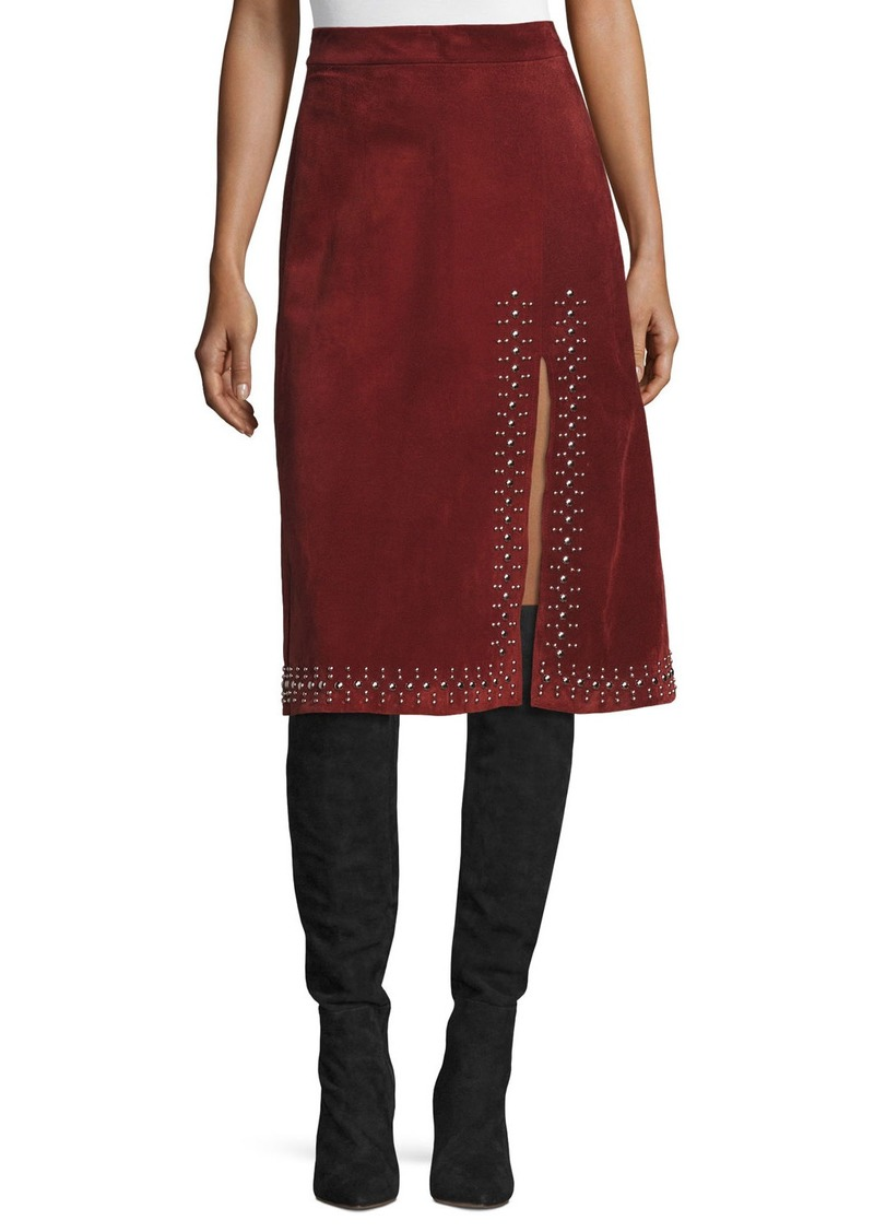 2427e3fae2 A.L.C. Aimee Studded Suede Skirt Now $373.86