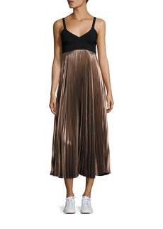A.L.C. Alba Metallic Pleated Midi Dress