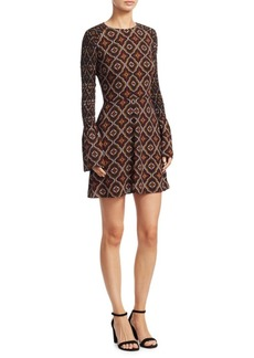 A.L.C. Alexa Printed Bell Sleeve Silk Dress