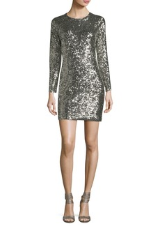 A.L.C. Aliya Sequin Crewneck Long-Sleeve Fitted Mini Dress