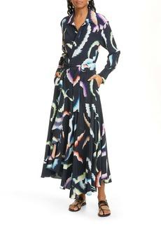 A.L.C. Amaya Long Sleeve Stretch Silk Maxi Dress
