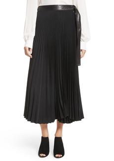 A.L.C. Anika Leather Trim Pleated Midi Skirt
