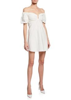 A.L.C. Aniston Off-the-shoulder Short-Sleeve Mini Dress