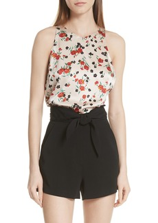 A.L.C. Ansie Floral Print Stretch Silk Top