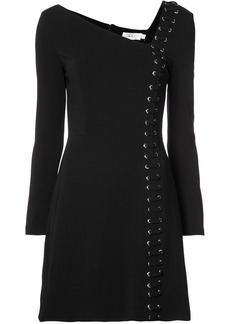 A.L.C. asymmetric neck lace-up mini dress - Black