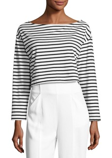 A.L.C. Audrie Long-Sleeve Striped Crop Boxy Tee