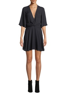 A.L.C. Ava Twist-Front Silk Mini Dress