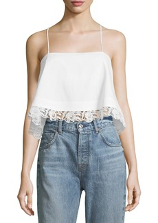 A.L.C. Bassett Cropped Lace-Hem Cotton Cami Top