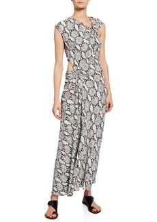 A.L.C. Beale Snake-Print Maxi Dress w/ Cutouts