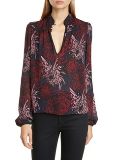 A.L.C. Beatrix Floral Metallic Dot Silk Blouse