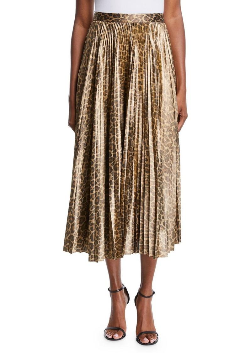 A.L.C. Bobby Leopard-Print Pleated Midi Skirt