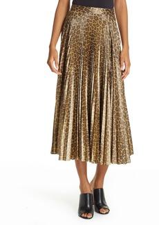 A.L.C. Bobby Leopard Print Pleated Midi Skirt