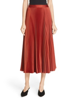 A.L.C. Bobby Pleated Satin Midi Skirt