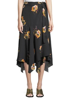 A.L.C. Borden Floral Silk Wrap Midi Skirt