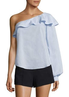 A.L.C. Brielle Ruffled One-Shoulder Cotton Top