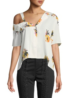 A.L.C. Bronte One-Shoulder Floral Button-Front Top