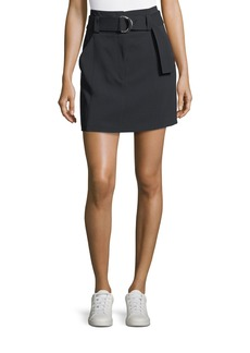 A.L.C. Bronx Belted Straight Wool-Blend Skirt