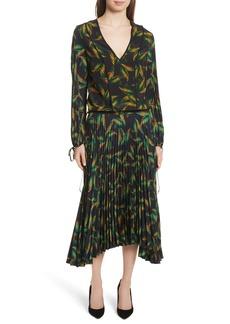A.L.C. Brooks Pleated Silk Midi Dress