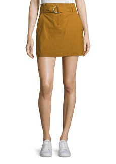 A.L.C. Bryce Belted Linen-Stretch Skirt