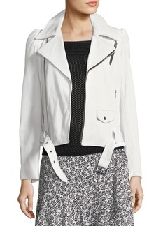 A.L.C. Calix Leather Moto Jacket with Lace-Up Sides