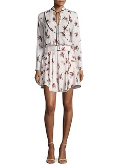 A.L.C. Campbell Long-Sleeve Floral Silk Dress