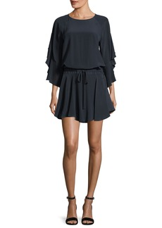 A.L.C. Cannon Draped-Sleeves Silk Mini Dress
