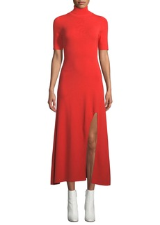 A.L.C. Caplan Turtleneck Short-Sleeve Slit-Front Long Dress