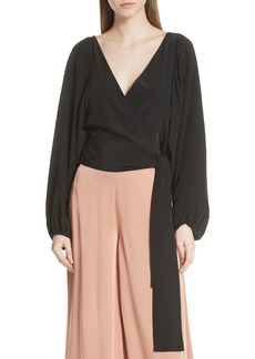 A.L.C. Carla Silk Wrap Crop Top