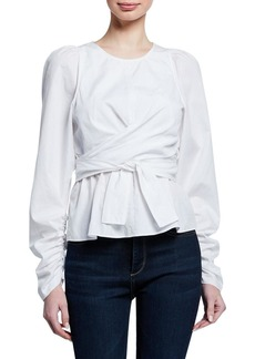 A.L.C. Carlin Gathered Poplin Tie-Front Top