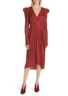 A.L.C. Carolina Puff Shoulder Silk Jacquard Dress