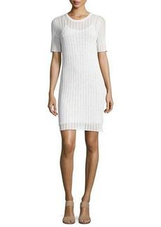 A.L.C. Caspar Short-Sleeve Striped Crochet Dress
