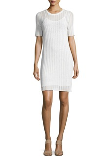A.L.C. Caspar Short-Sleeve Striped Crochet Dress  White