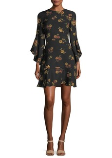 A.L.C. Cassidy Crewneck Long-Sleeve Silk Dress